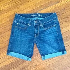 America Eagle Cuffed Dark Wash Jeans Shorts